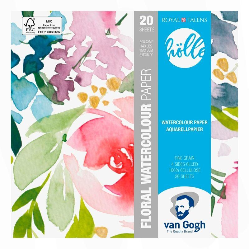 Van Gogh Floral Watercolor Paper - Pack 20 Hojas Papel de Acuarela; 18 x 24, 20 Hojas, 300 g/m2