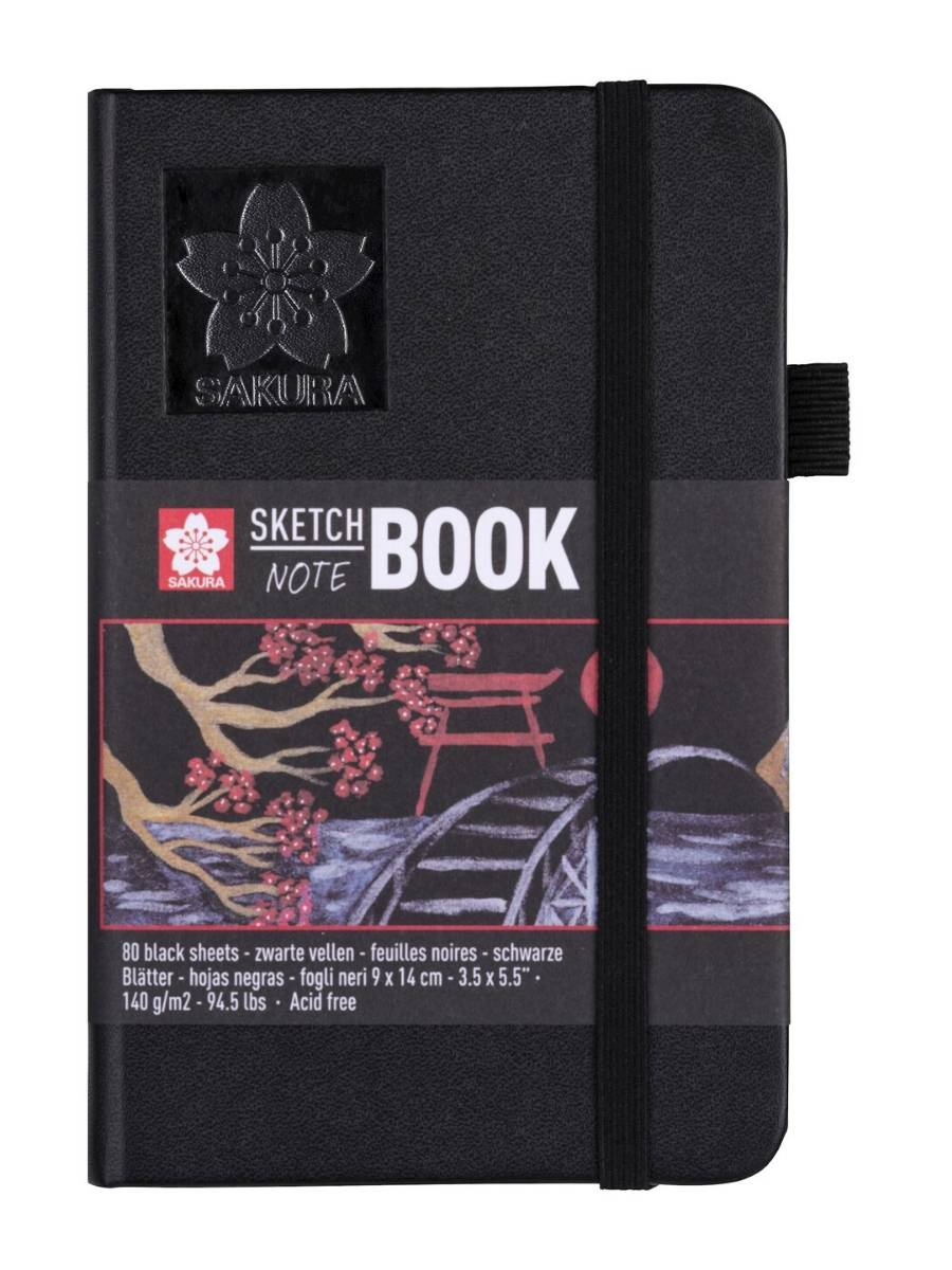 Sakura Sketch Note Book - Sketchbook PAPEL NEGRO; 9 x 14 cm, 80 Hojas, 140 g/m2