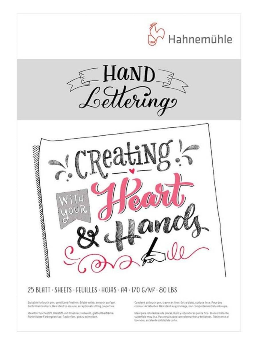 Hahnemühle Hand Lettering - Pad; A4 21 x 29,7 cm, 25 Hojas, 170 g/m2