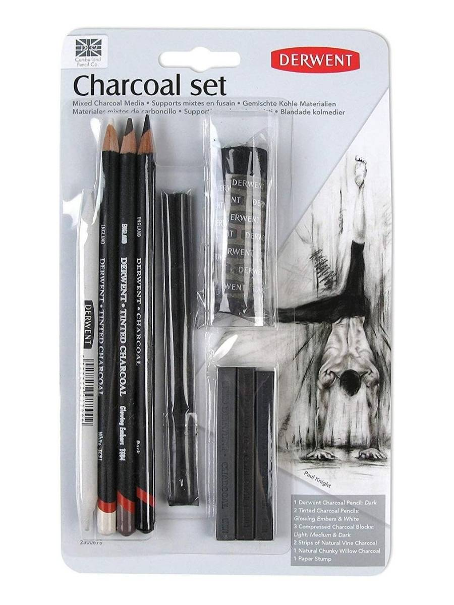 Derwent Charcoal Set - Kit Lápices Materiales Mixtos de Carboncillo