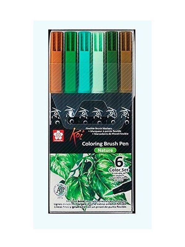 Sakura Koi - Set 6 Marcadores Coloring Brush Pens; Nature (Naturaleza)