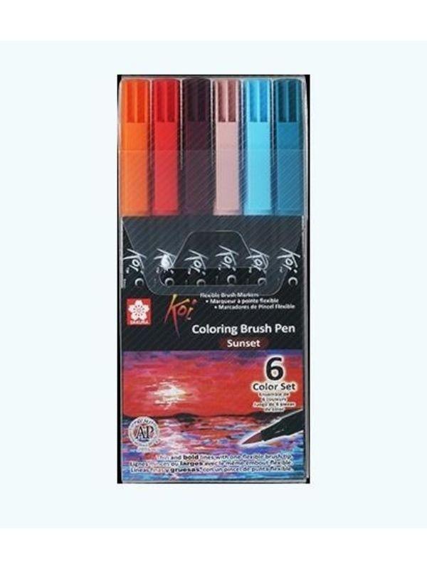 Sakura Koi - Set 6 Marcadores Coloring Brush Pens; Sunset (Atardecer)