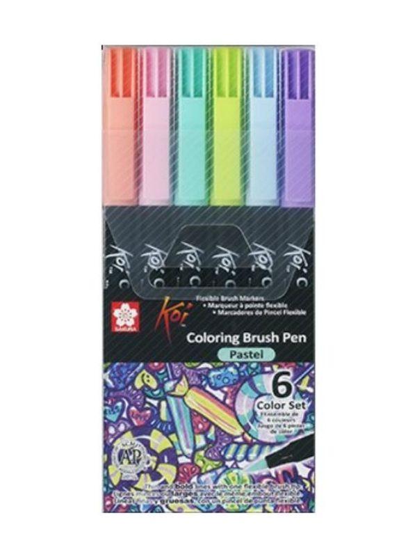 Sakura Koi - Set 6 Marcadores Coloring Brush Pens; Pastel