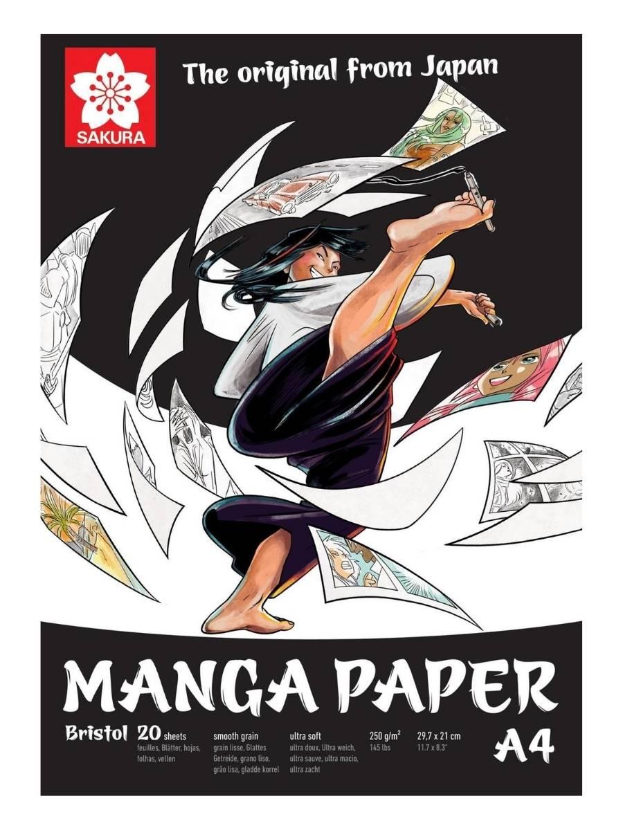Sakura Manga Paper - Pad Bristol; A4 21 x 29,7 cm, 20 Hojas, 250 g/m2