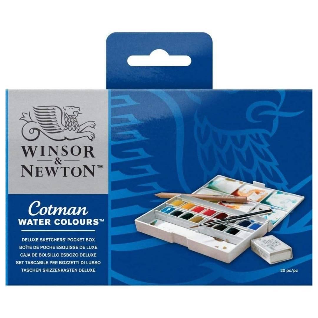 Winsor & Newton Cotman - Set 16 Acuarelas Deluxe Sketcher's, Medias Pastillas + Accesorios