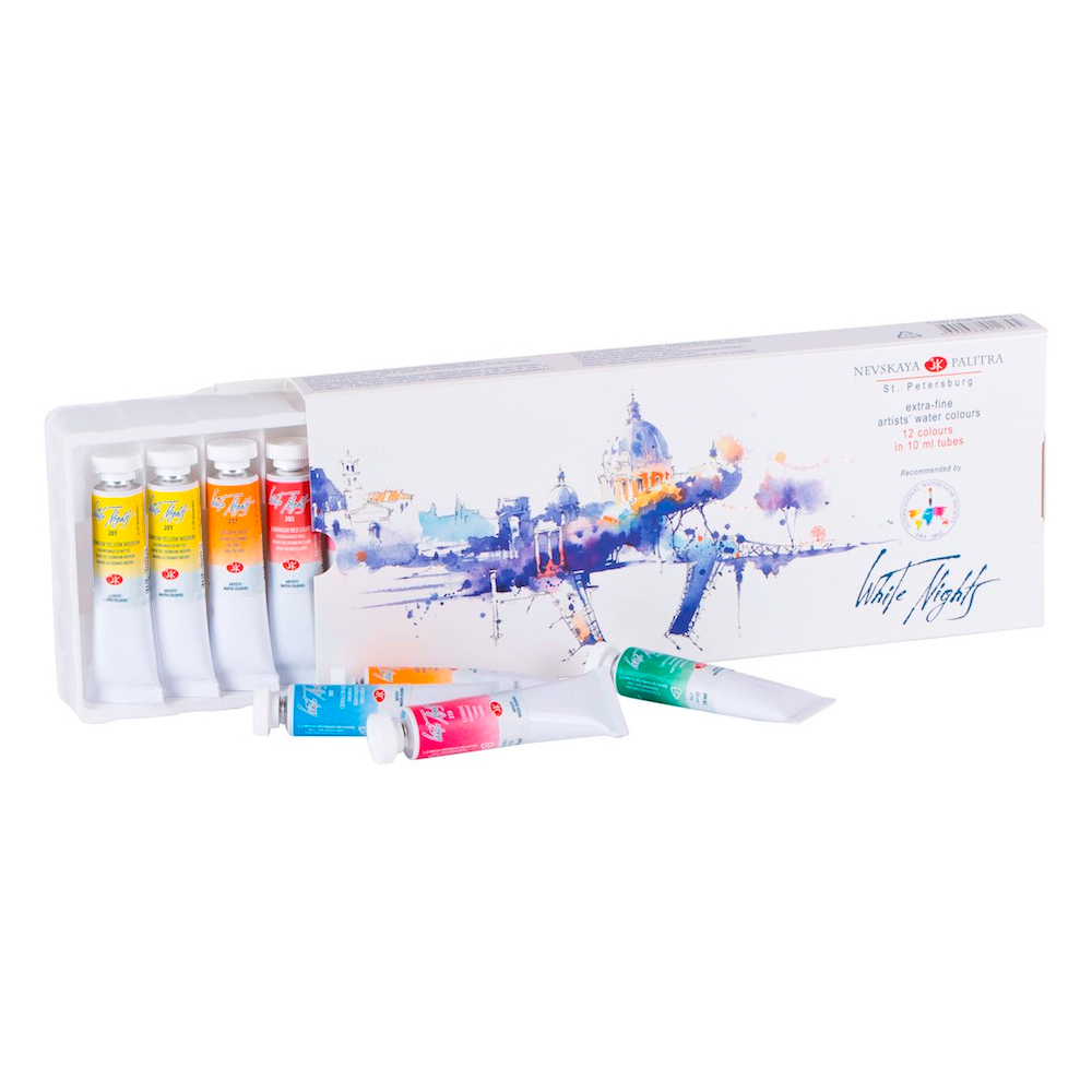 White Nights - Set 12 Acuarelas Rusas Extra Finas; Tubos 10 ml