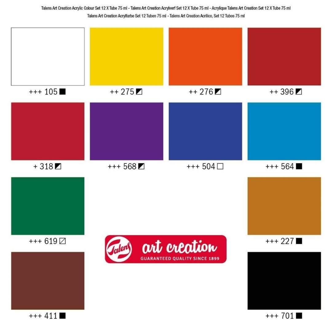 Talens Art Creation Acrylic Colour - Set 12 Acrílicos Tubos de 75 ml