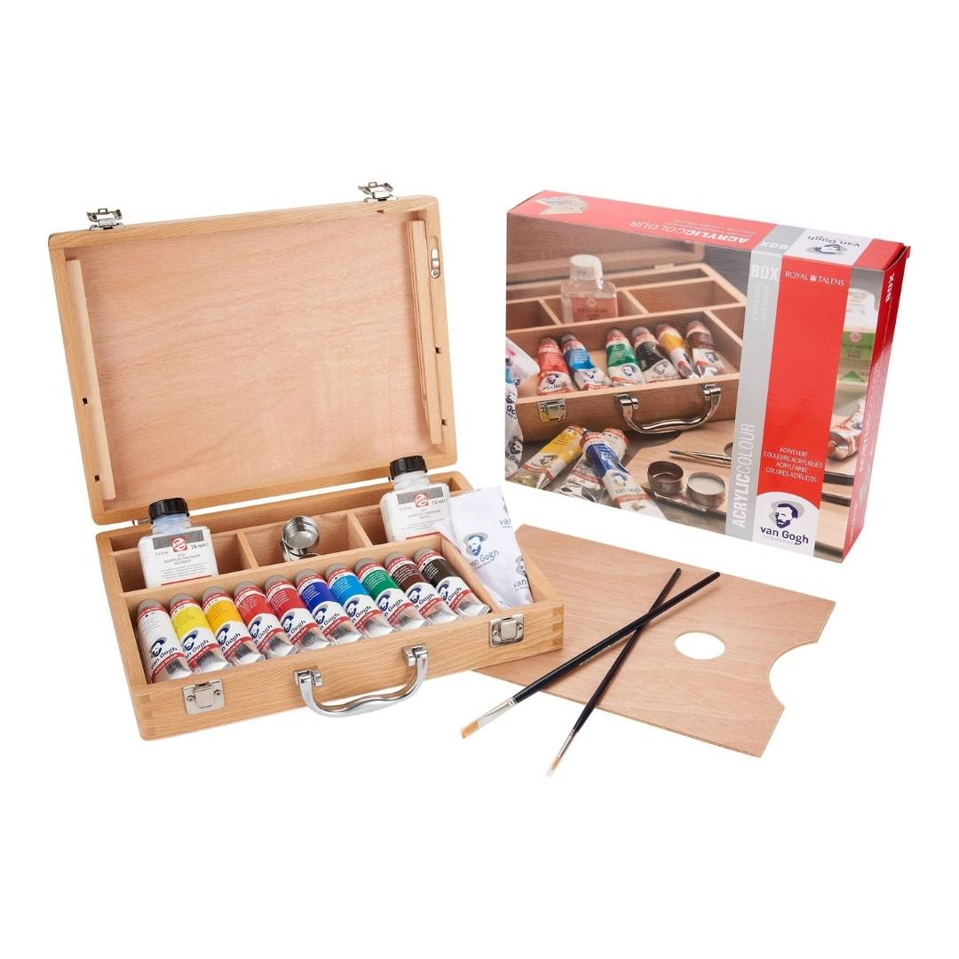 Van Gogh Acrylic Colour - Set 10 Acrílicos en Caja de Madera y Accesorios