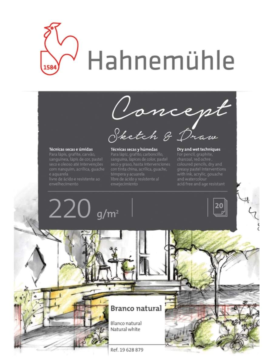 Hahnemühle Concept - Pad Sketch & Draw; A4 21 x 29,7 cm, 20 Hojas, 220 g/m2
