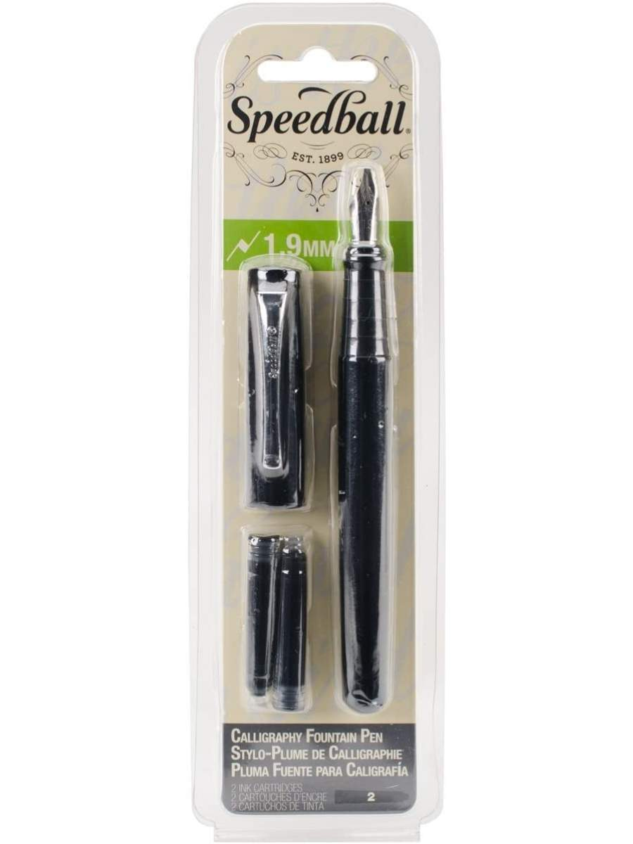 Speedball - Pluma Fuente 1,9 mm con 2 Cartuchos Tinta