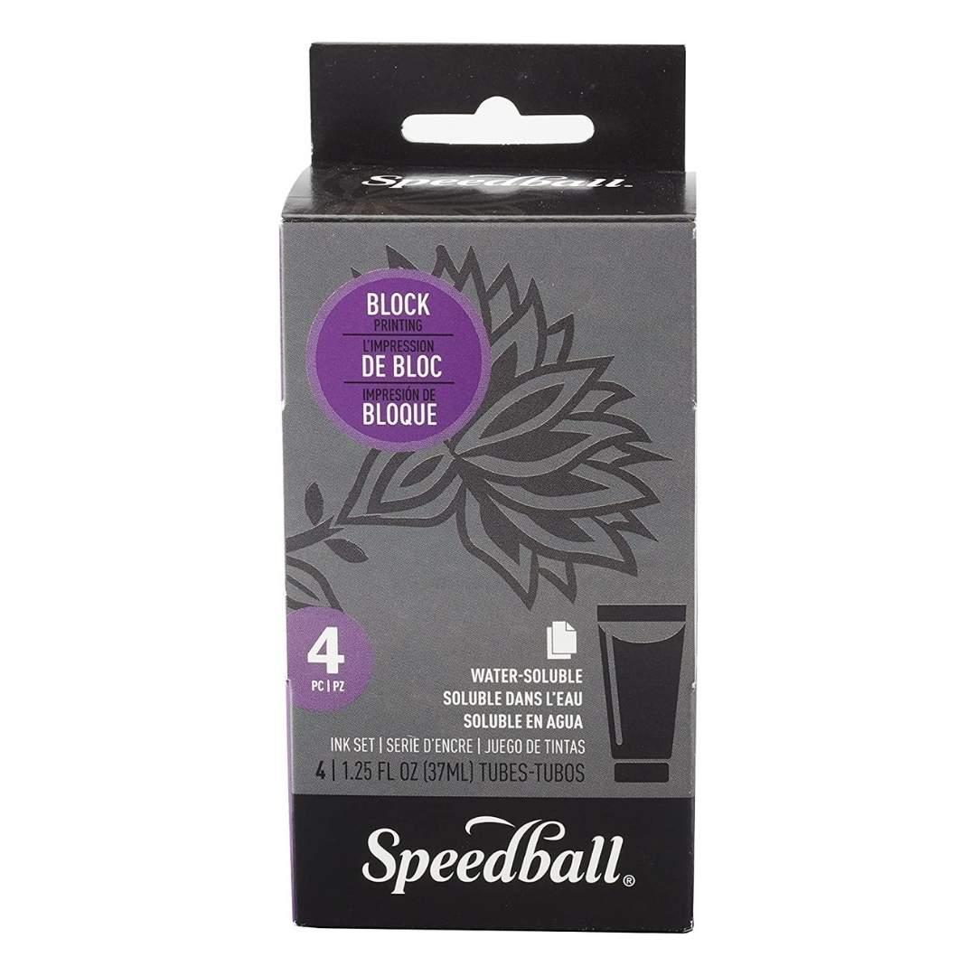 Speedball - Set 4 Tintas para Estampado en Linóleo; Tubos 37 ml