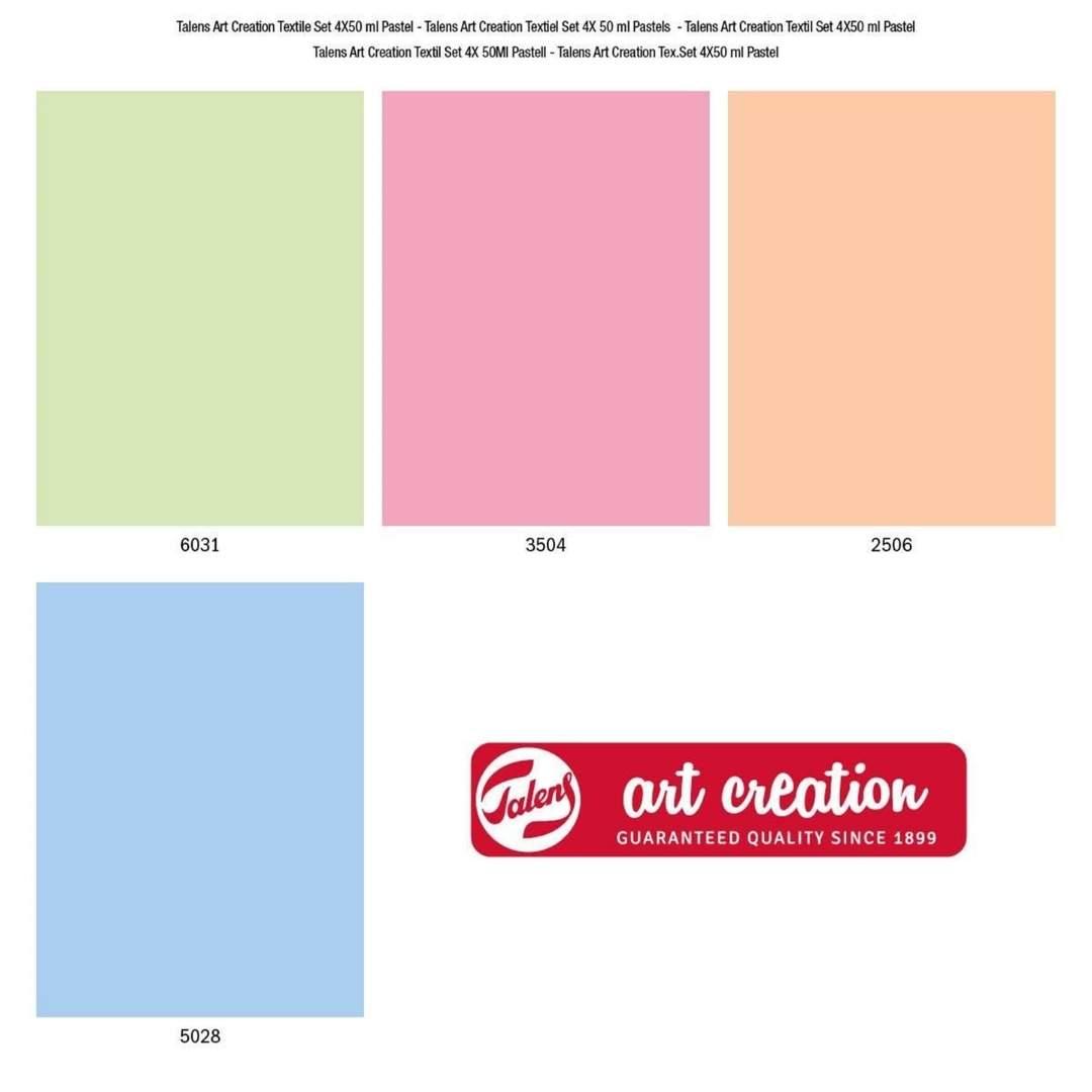Talens Art Creation Textile - Set 4 Colores Pintura Textil Pastel; 50 ml