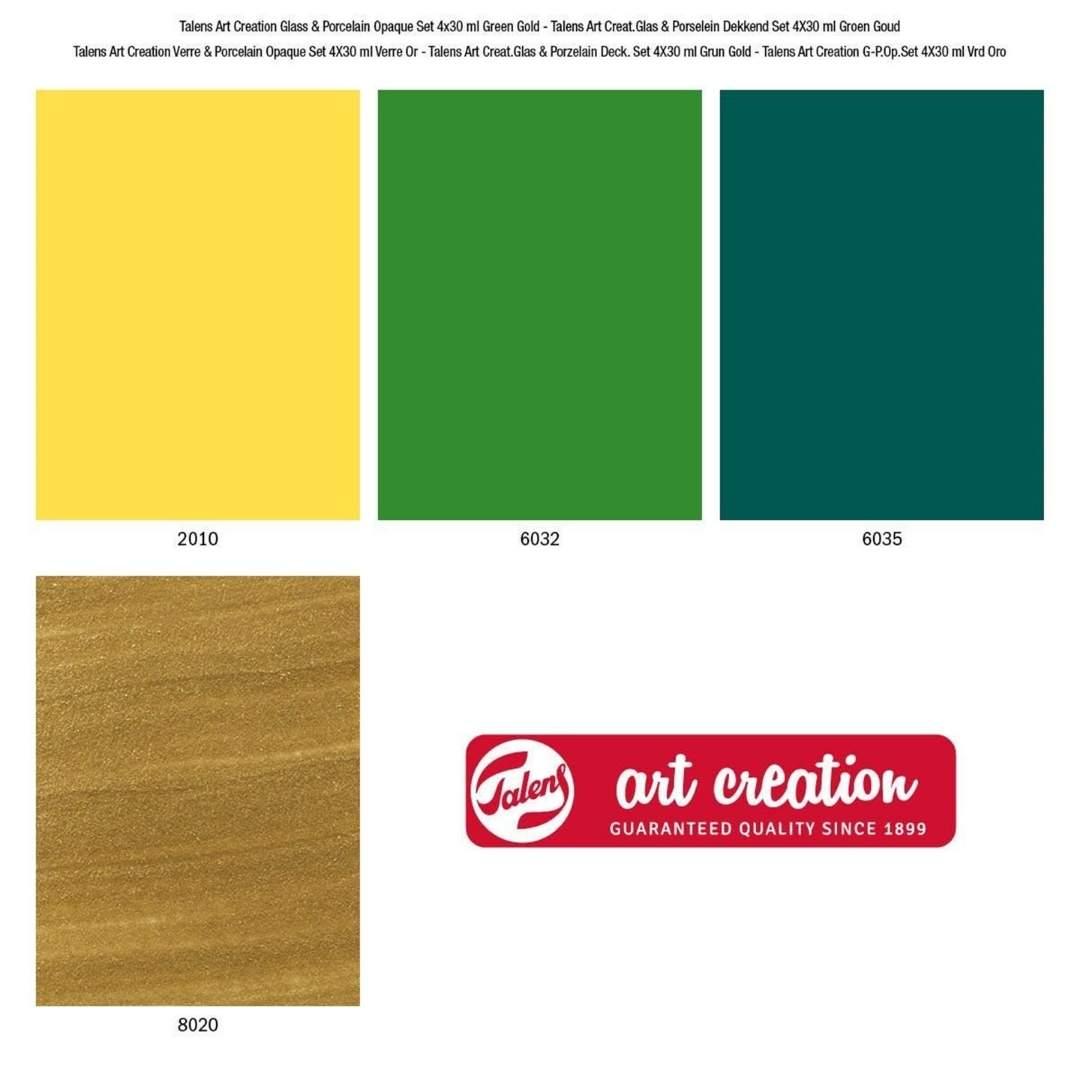 Talens Art Creation Glass & Porcelain - Set 4 Pinturas para Porcelana Verde Oro Opaco; 30 ml
