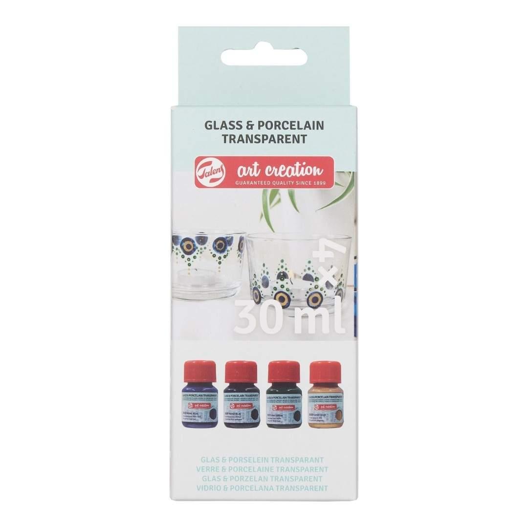 Talens Art Creation Glass & Porcelain - Set 4 Pinturas para Porcelana Azules Transparente; 30 ml