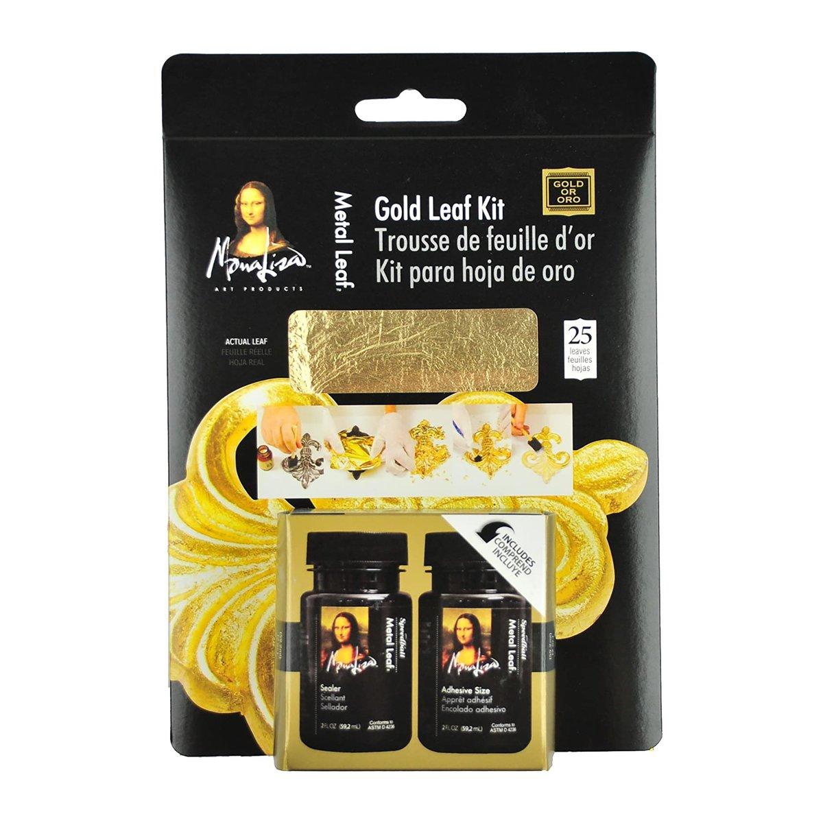 Speedball Mona Lisa - Kit Pan de Oro Metal Leaf Dorado Adhesivo y Sellador