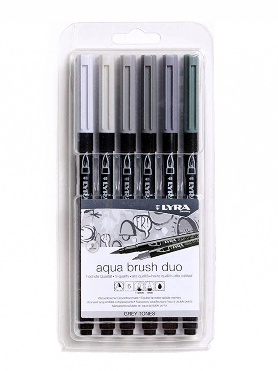 Lyra Aqua Brush Duo - Set 6 Marcadores Grey Tones