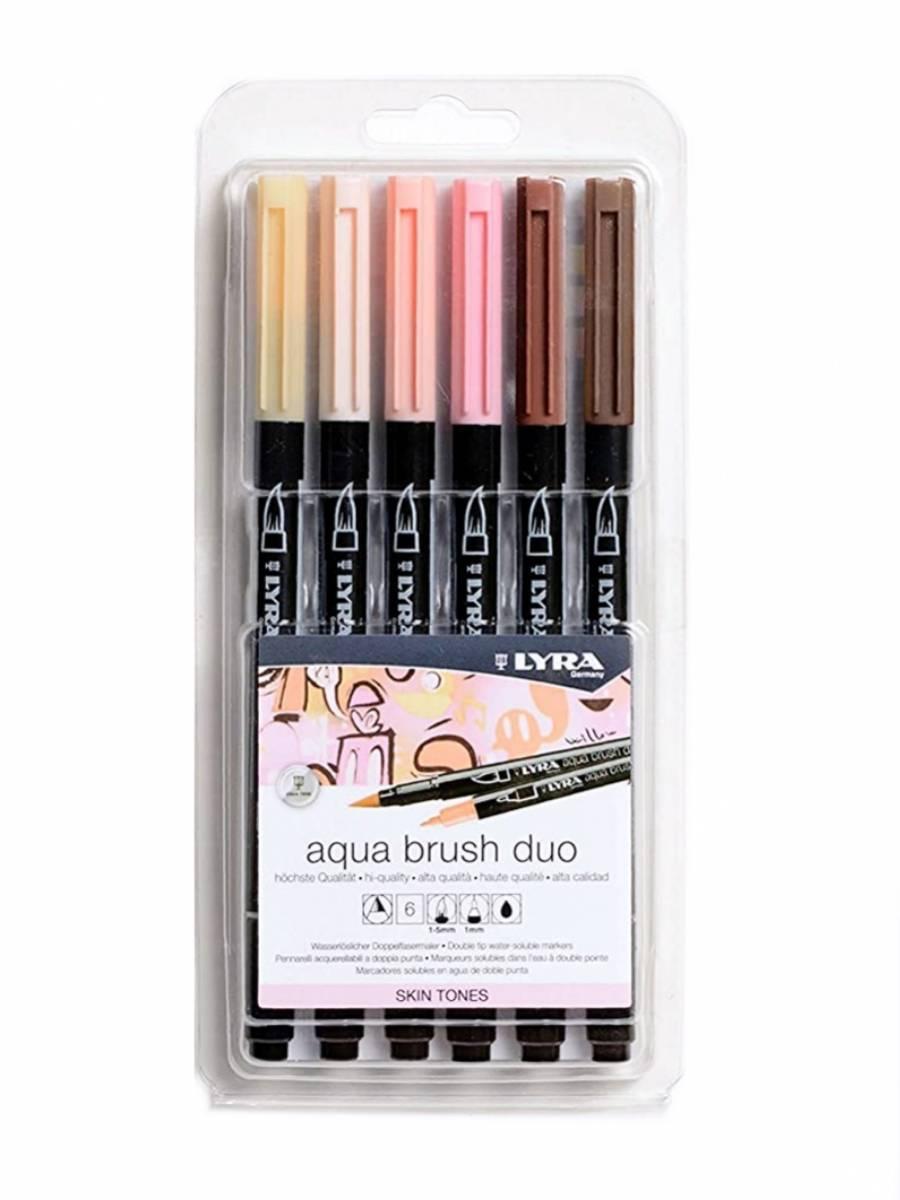 Lyra Aqua Brush Duo - Set 6 Marcadores Skin Tones