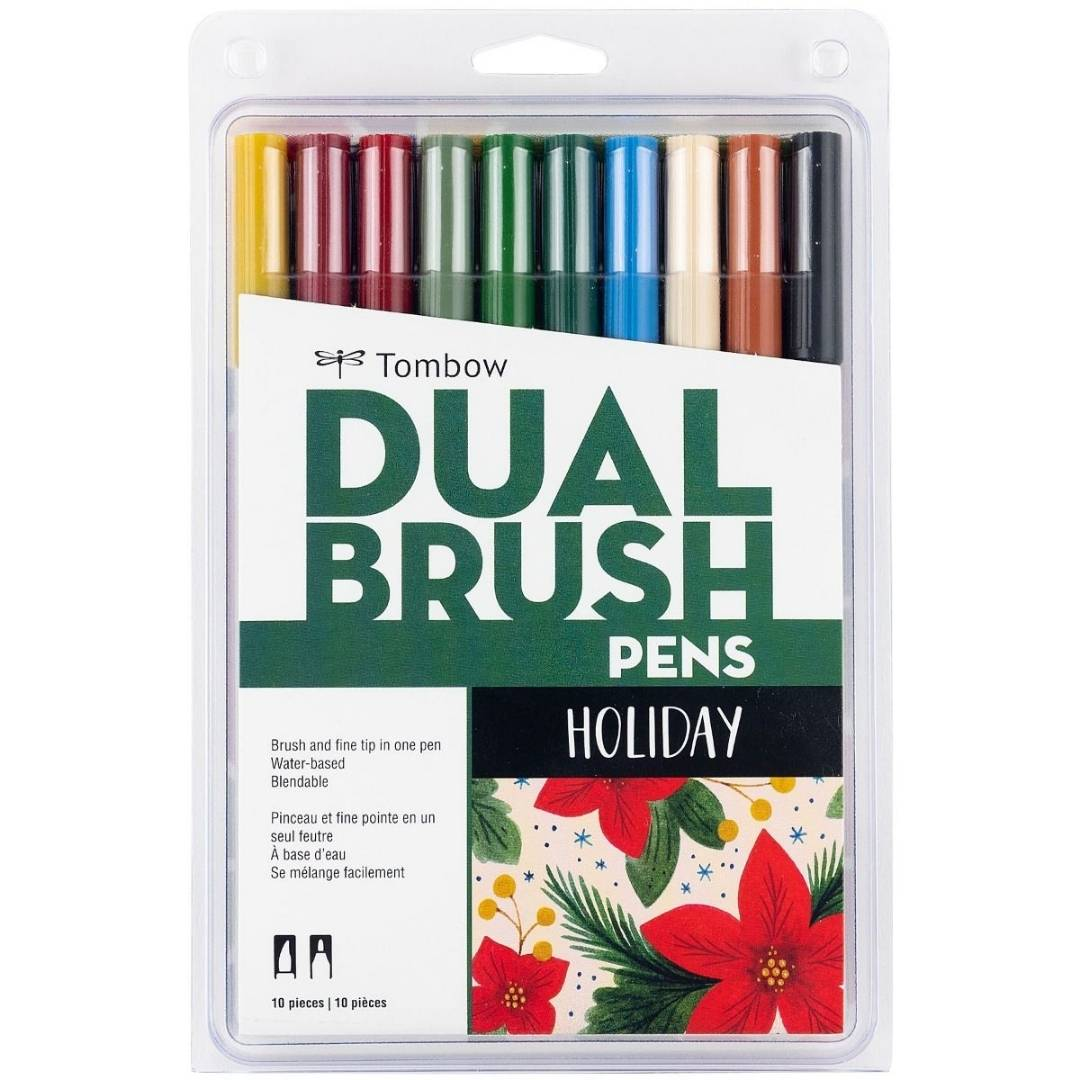Tombow Dual Brush - Set 10 Marcadores; Holiday