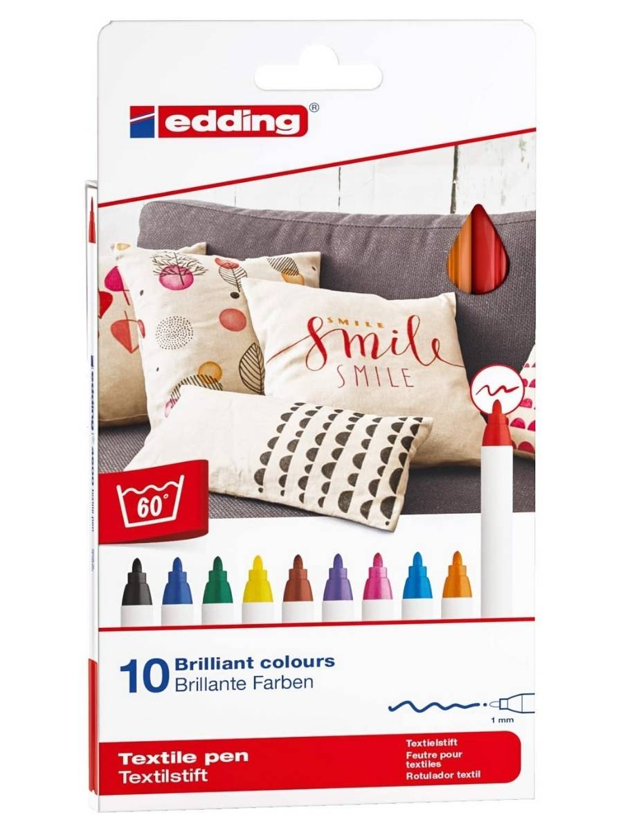 Edding 4600 - Set 10 Marcadores Textiles (1 mm) Colores Básicos