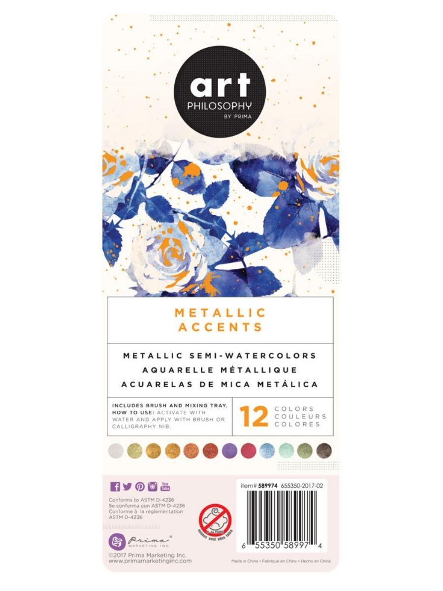 Art Philosophy Metallic Accents - Set 12 Acuarelas Metalizadas Basic