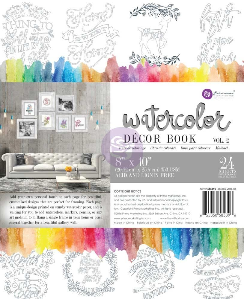 Prima - Libro para Colorear Watercolor Décor Book Vol 2