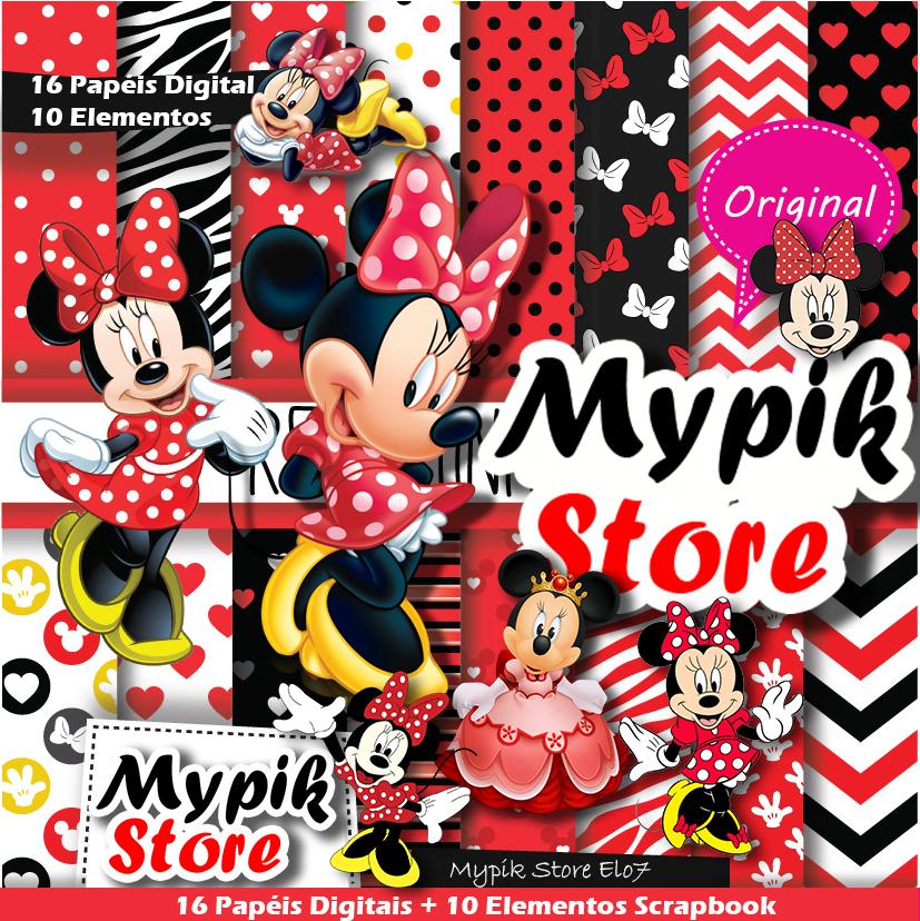 Kit Digital Minnie Vermelha Scrapbook 54