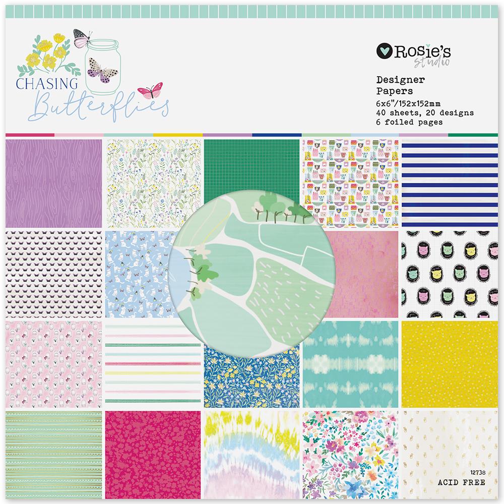 Chasing Butterflies 6x6 Designer Paper Pad 40 hojas