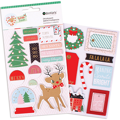 Chipboard embellishments colección Rudolph and friends