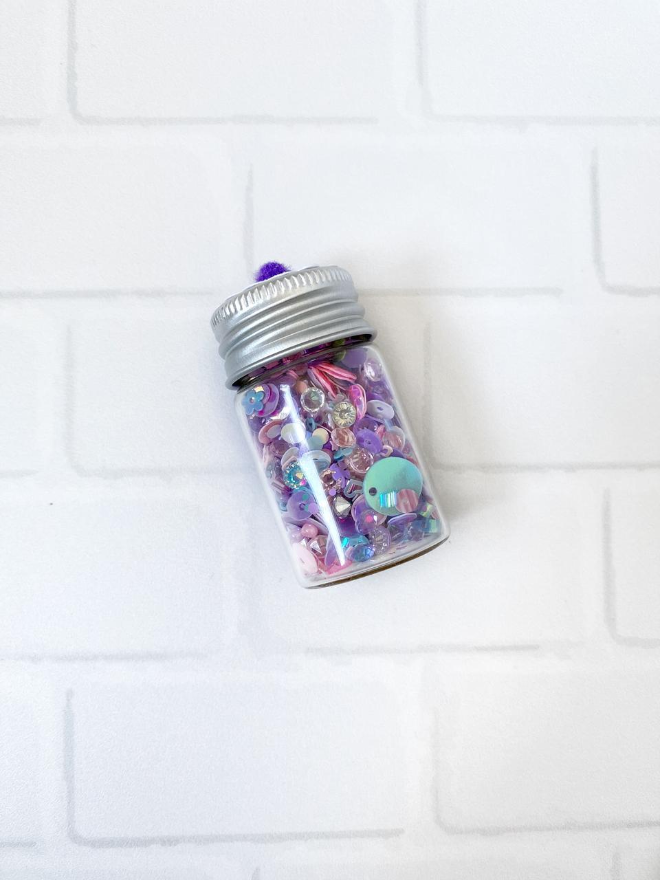 Shaker Mix Lentejuelas y Diamantes Imitacion Morado