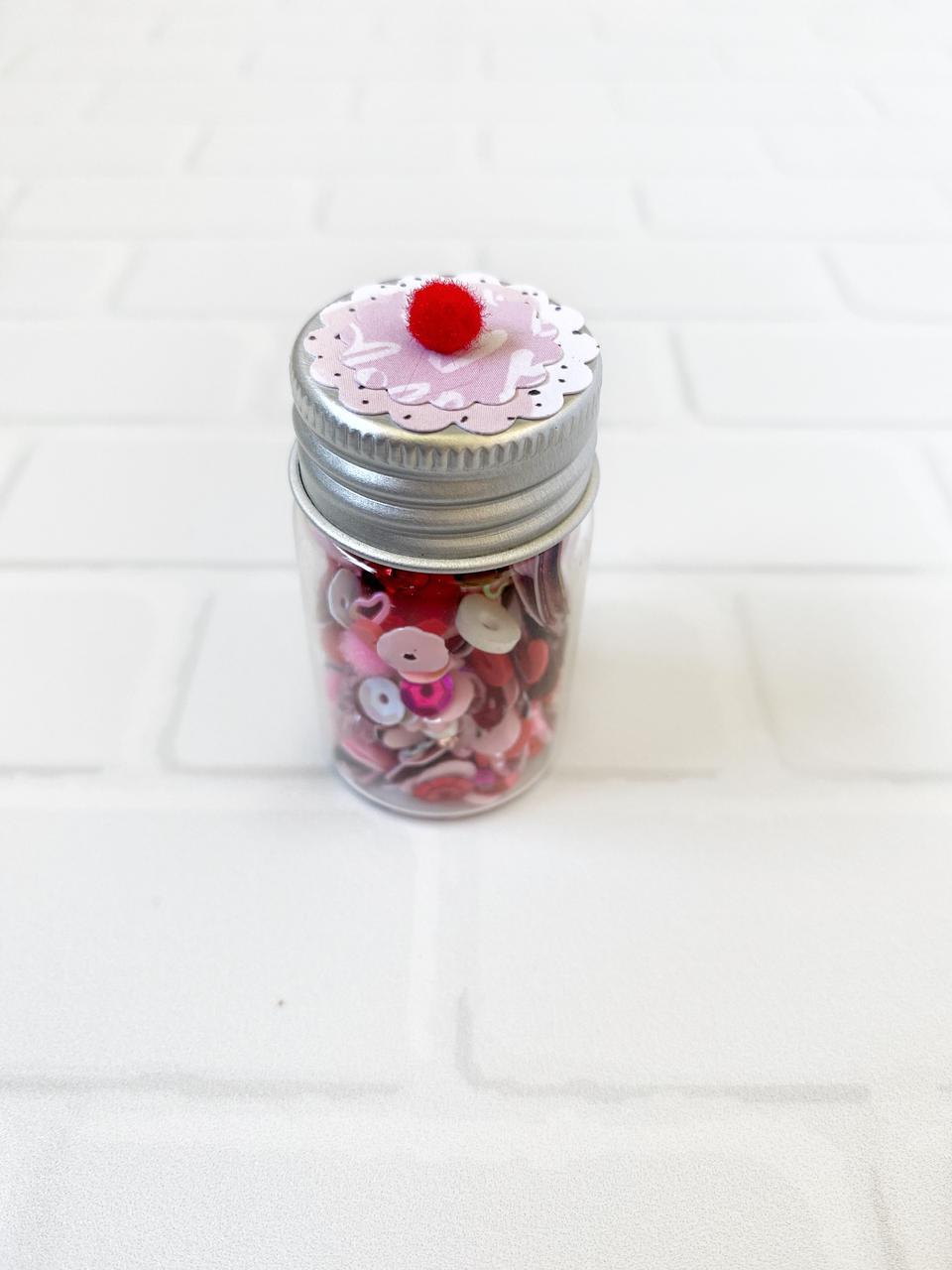 Shaker Mix Lentejuelas y Diamantes Imitacion Rojo