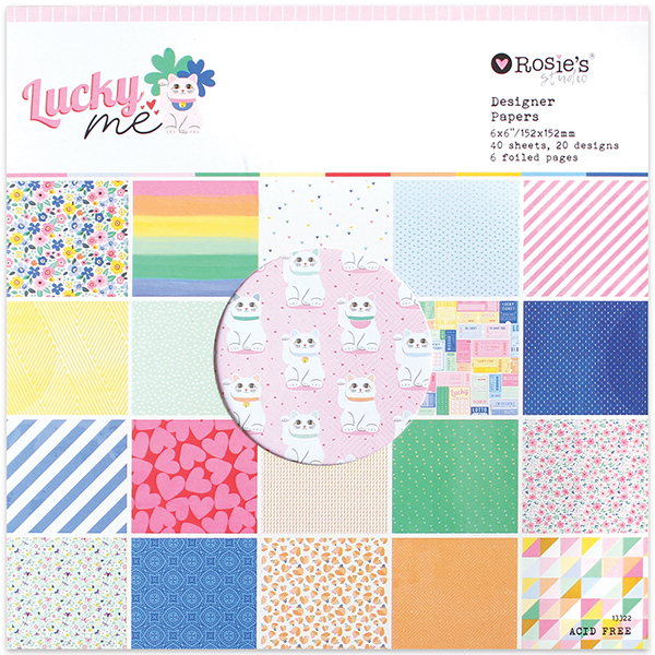 "Lucky Me 6x6"" Designer Paper Pad 40 sheet"