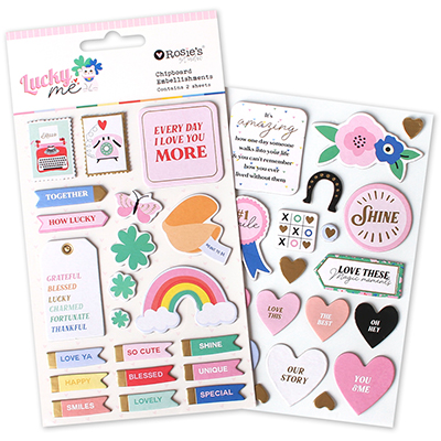 Lucky Me Chipboard Embellishments 2 sheets