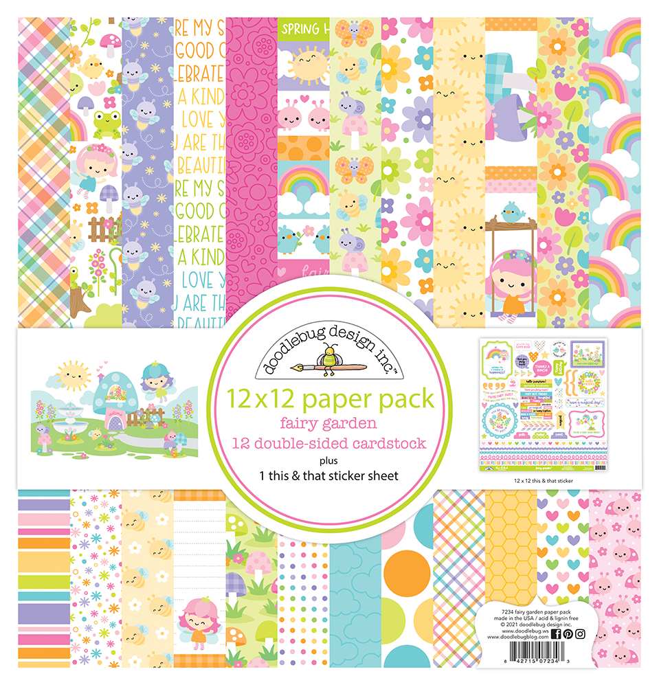 Fairy Garden 12 x 12 cardstock paper pack 12 hojas doble cara