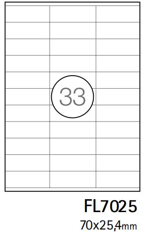 Etiquetas A4 70x25,4mm branca (CX. 100F)