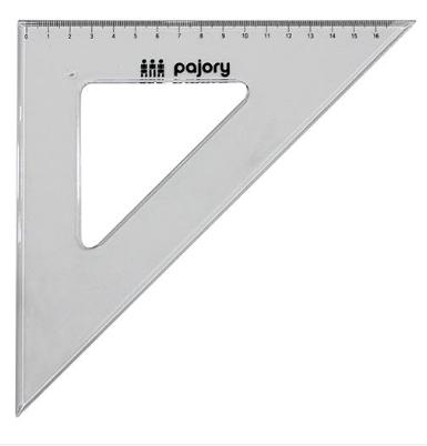 Esquadro 45º/26cm e-17cm plast cristal