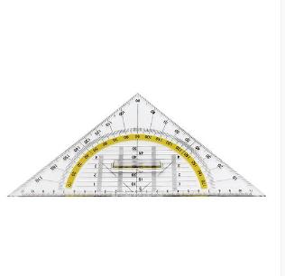 Esquadro geométrico 25cm, 222 plástico com pega