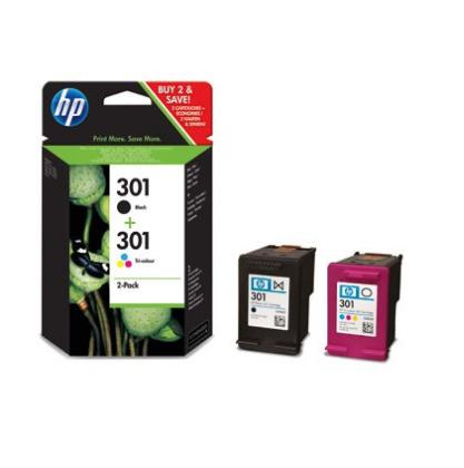 Pack Tinteiro Original HP nº 301 preto + cores