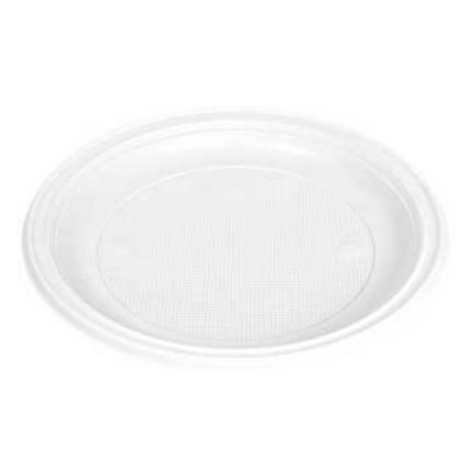 Pratos Plastico Branco Raso Refeição 210mm (Pack50)