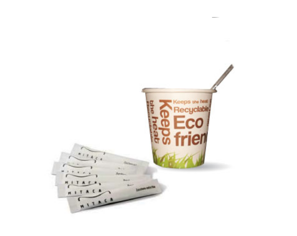 Kit Eco Friendly 100 Copos Papel/ Mexedor/ Acucar