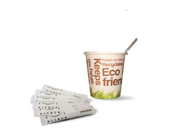 Kit Eco Friendly 100 Copos Papel/ Mexedor/ Acucar