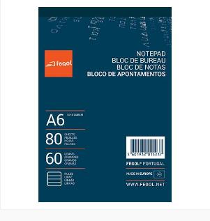 Bloco de apontamentos A6 60gr liso 80folhas (10uni)