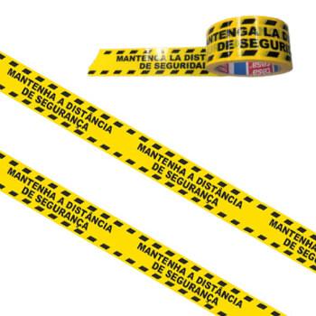 Fita Adesiva PVC Impressa (Mantenha a distancia de segurança) Fundo Amarelo Tesa -1 un