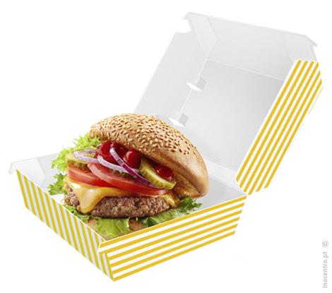 Caixa para Hambúrguer, 15x15x8 cm com impressão riscas-100 UNI