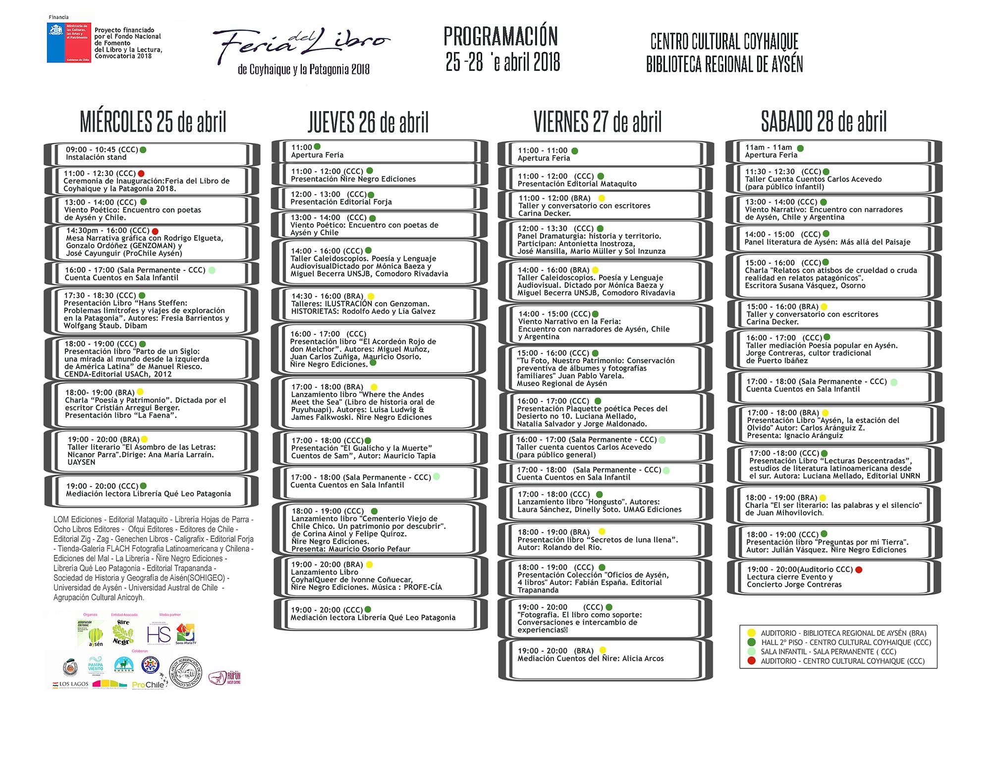 Programa Feria del Libro de Coyhaique y Patagonia 2018