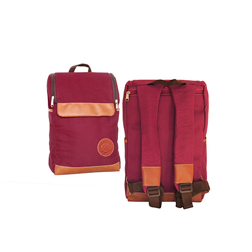 Mochila Matera C/ Porta Notebook Color Vino Tinto