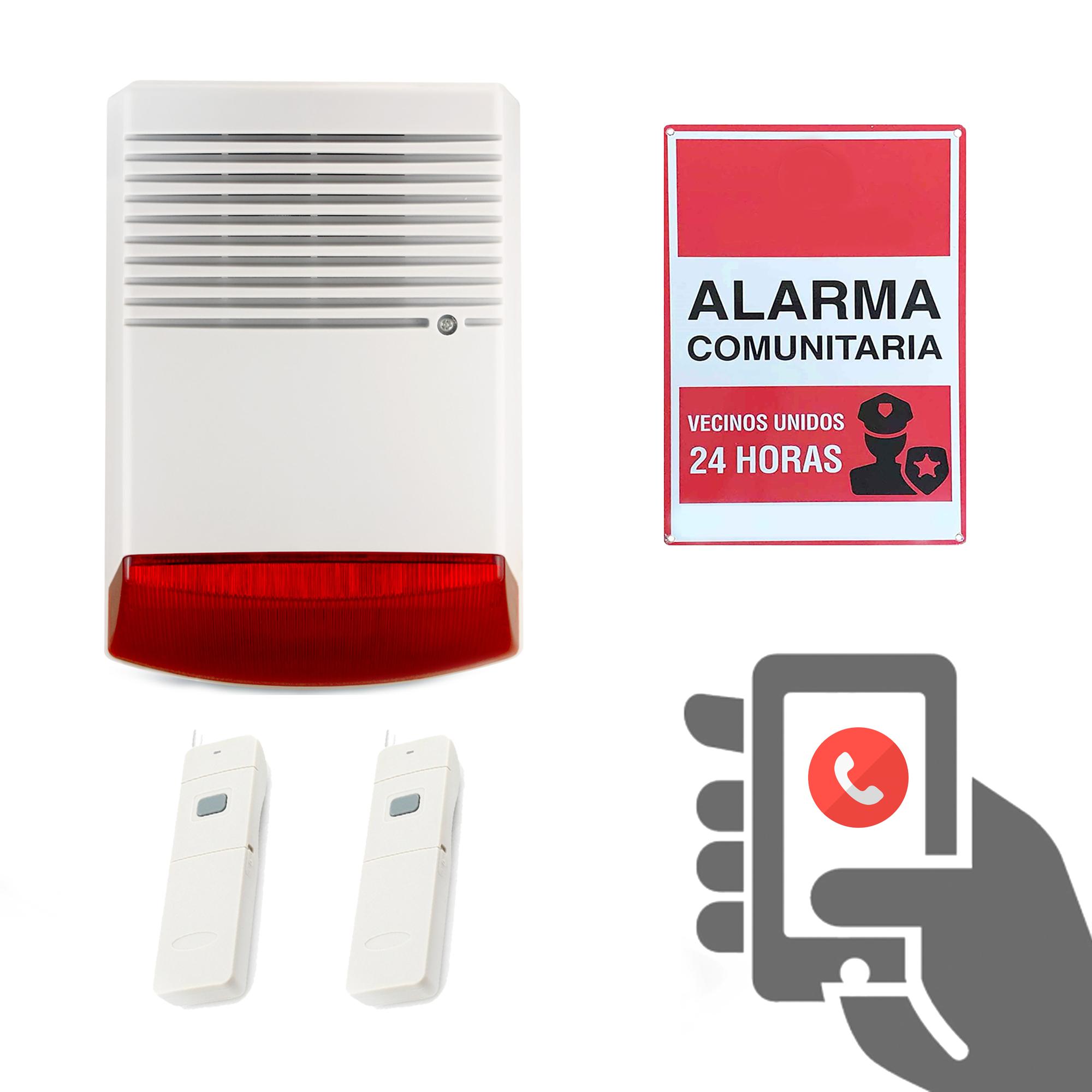 Alarma Comunitaria Activada con Llamada Telefónica y Botón de Pánico 2 en 1