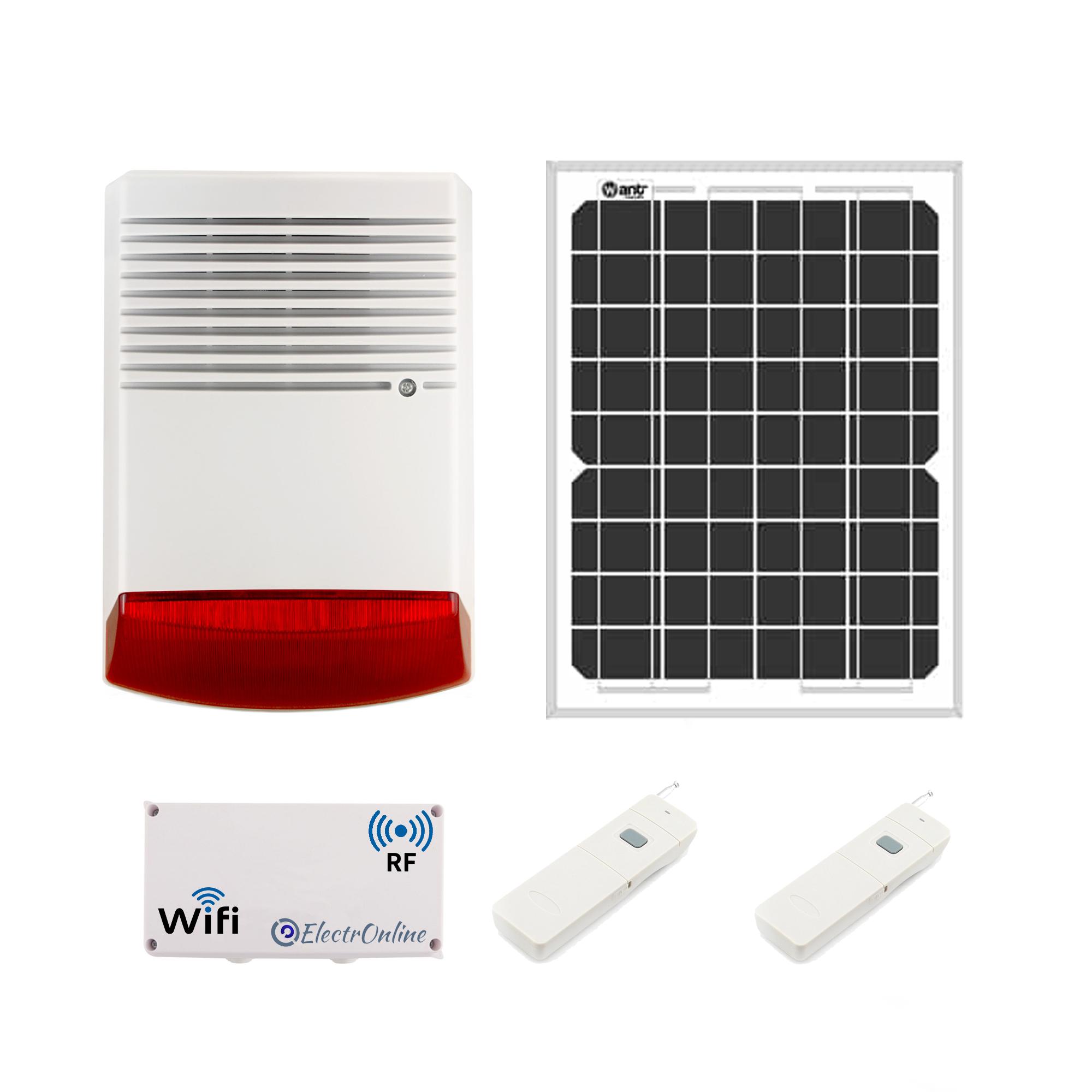 Sirena Comunitaria Solar APP WIFI Botón De Pánico RF