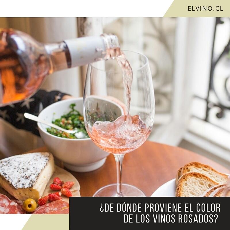 ¿De dónde proviene el color de los vinos rosados?