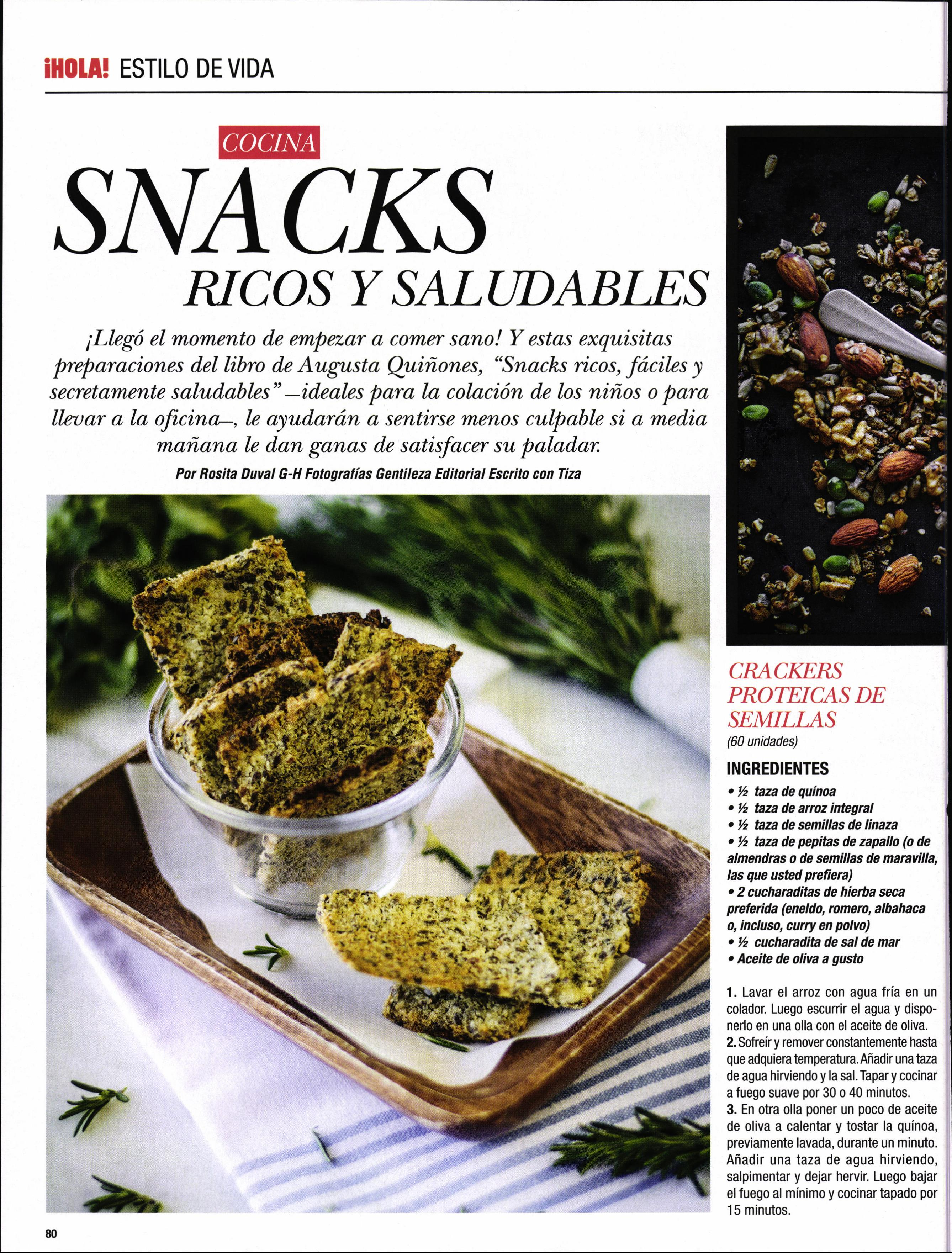 Snacks, ricos y saludables. - Revista Hola