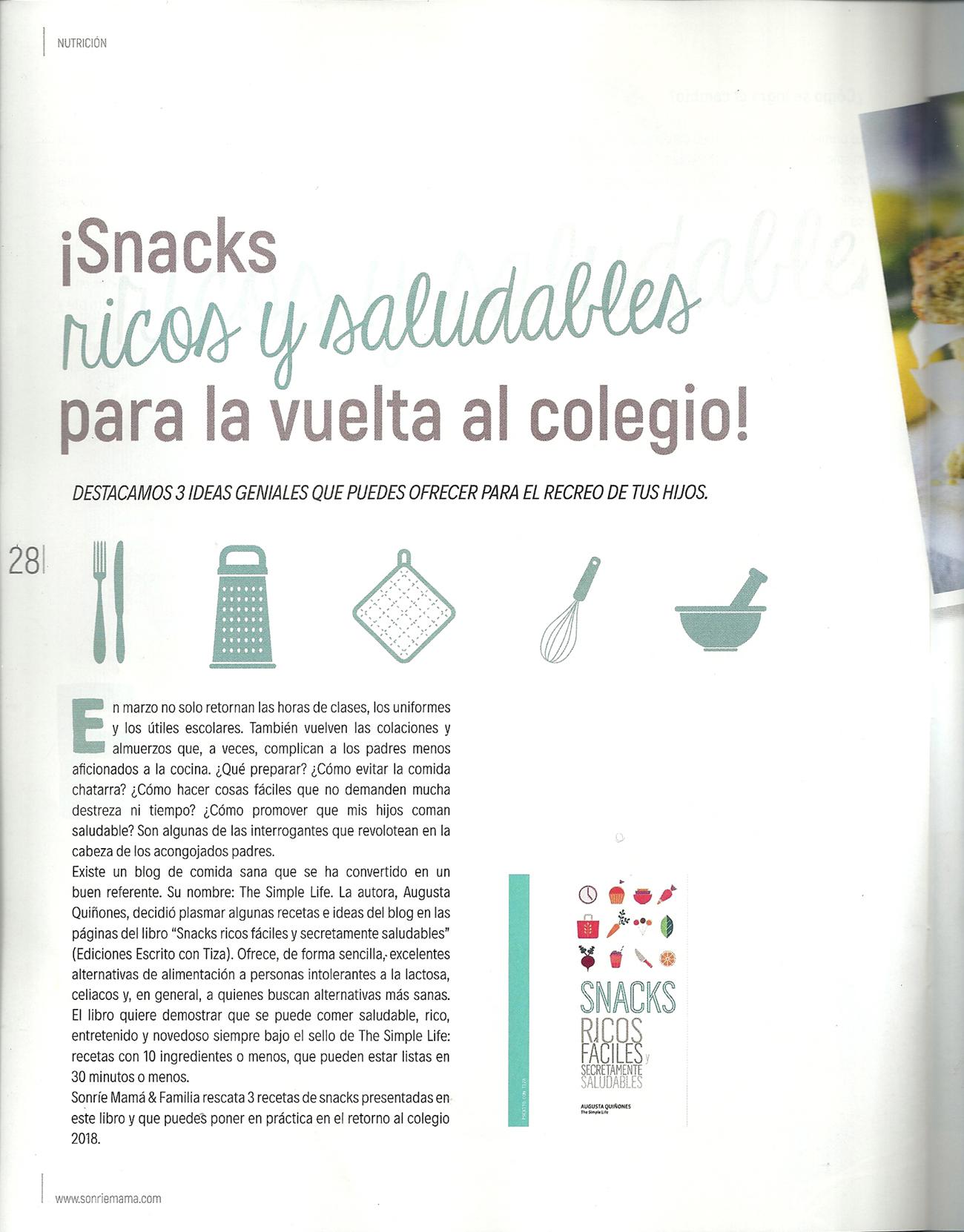 Snacks para la vuelta al colegio - REVISTA SONRÍE MAMA